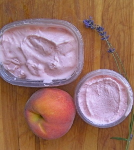 Honey Peach Ice Cream with a breeze of Lavender