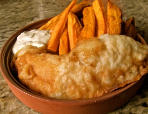 Gluten and Dairy Free Battered Cod with Baked Sweet Potato Fries. Much better tasting and for you than the classic.