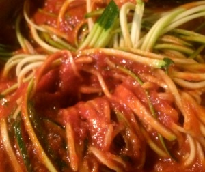 Zucchini is great cooked in tomato sauce and takes on the flavor or the sauce and the texture of spaghetti.